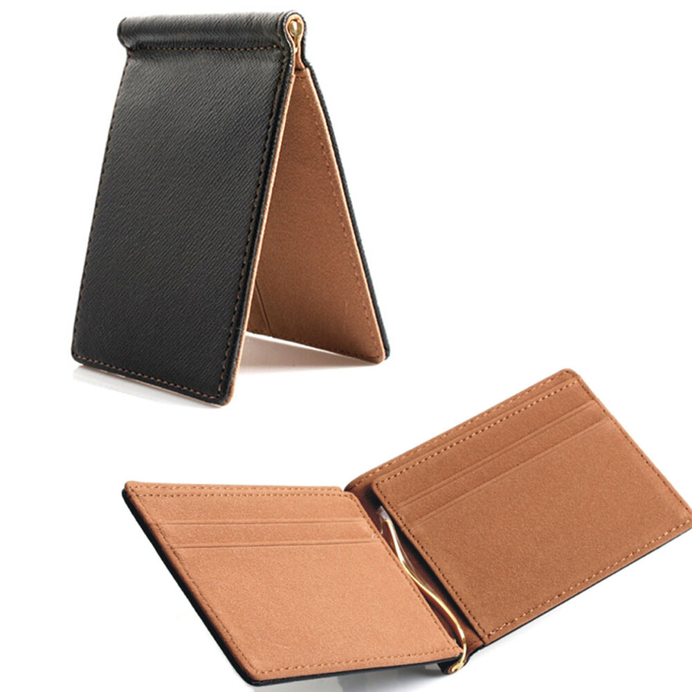 brown  mens spring money clip slim wallet id credit card holder faux leather