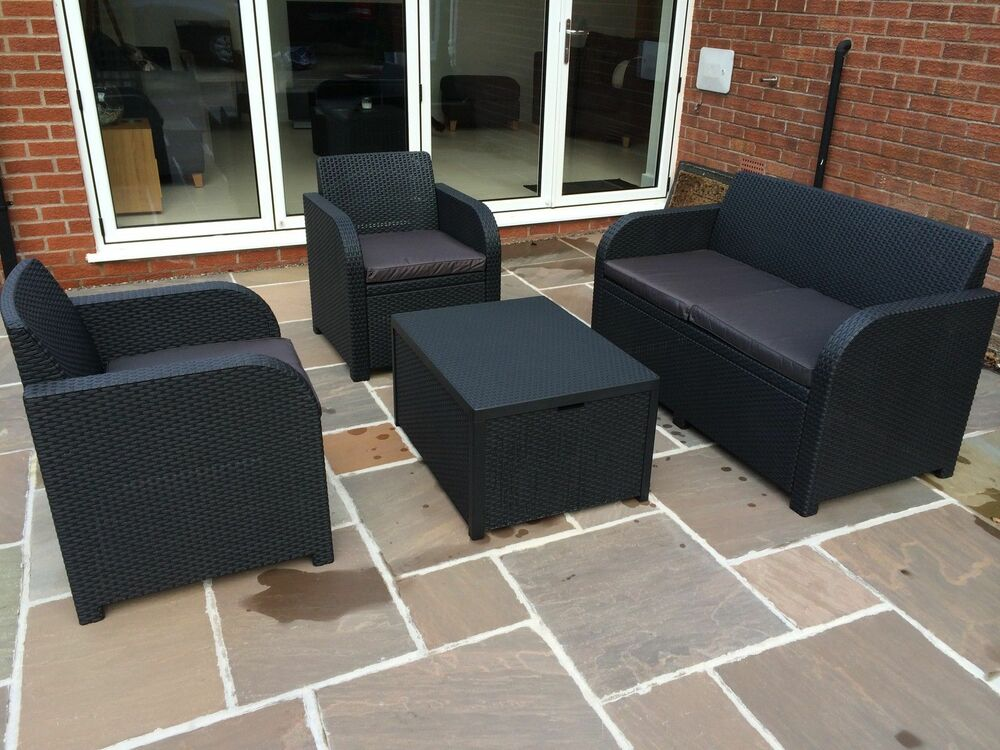 Allibert Keter Carolina Rattan Garden Furniture Set Anthracite G Or Brown Ebay