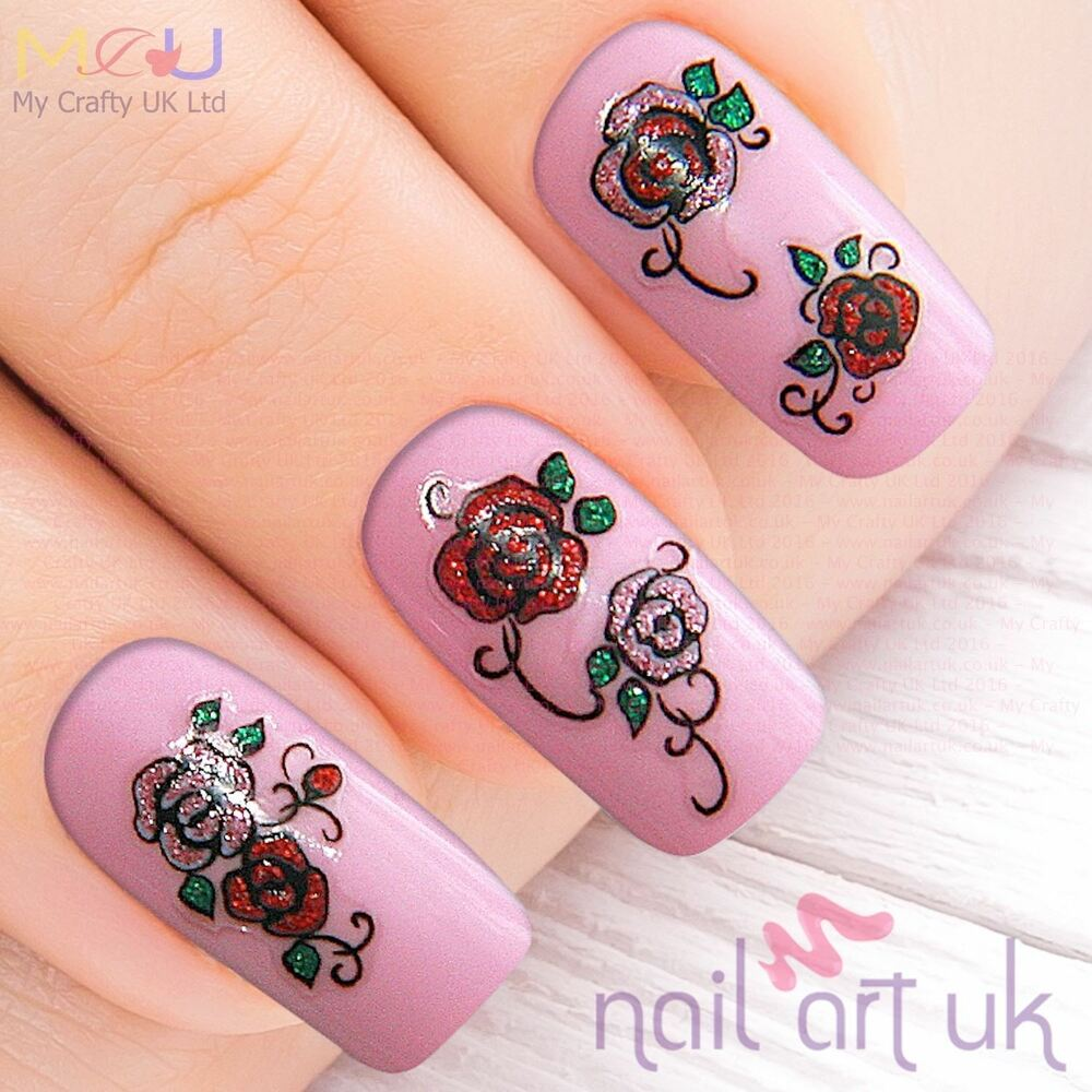 Nail Art Stickers: Pink Red Glitter Rose Flower Nail Stickers, Decals, Art