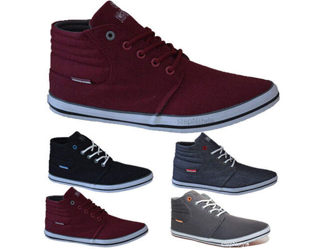 MENS MID CUT BOYS HI TOP CANVAS SHOES ANKLE TRAINERS LACE ...