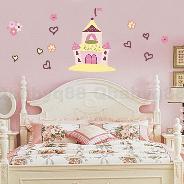 Princess castle wall stickers decal removable art home kid for Castle wall mural sticker