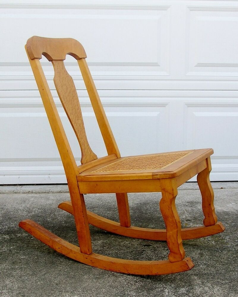 Vintage Birdseye Maple Rocking Chair Woven Cane Seat