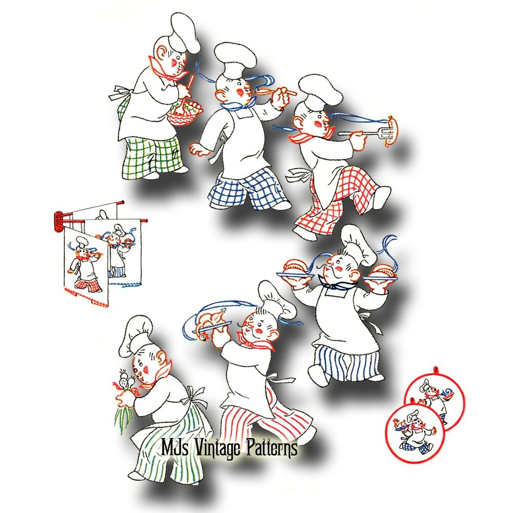 Vintage Chefs Embroidery Pattern 6 Designs Of Chefs In The Kitchen Ebay