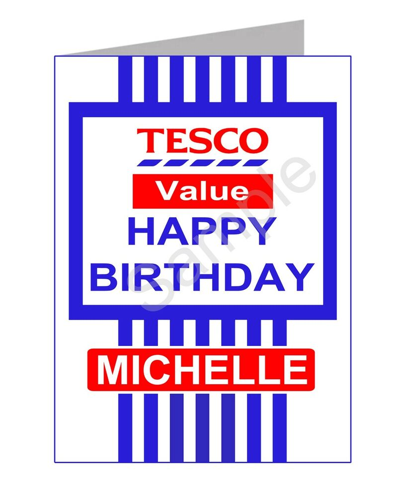 Tesco Value Funny Birthday Card PGS2520GC- Personalised with your Name ...