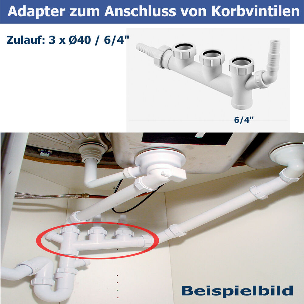 adapter zum anschluss korbvintilen 2x ger teanschluss ablauf einbausp le abfluss ebay. Black Bedroom Furniture Sets. Home Design Ideas