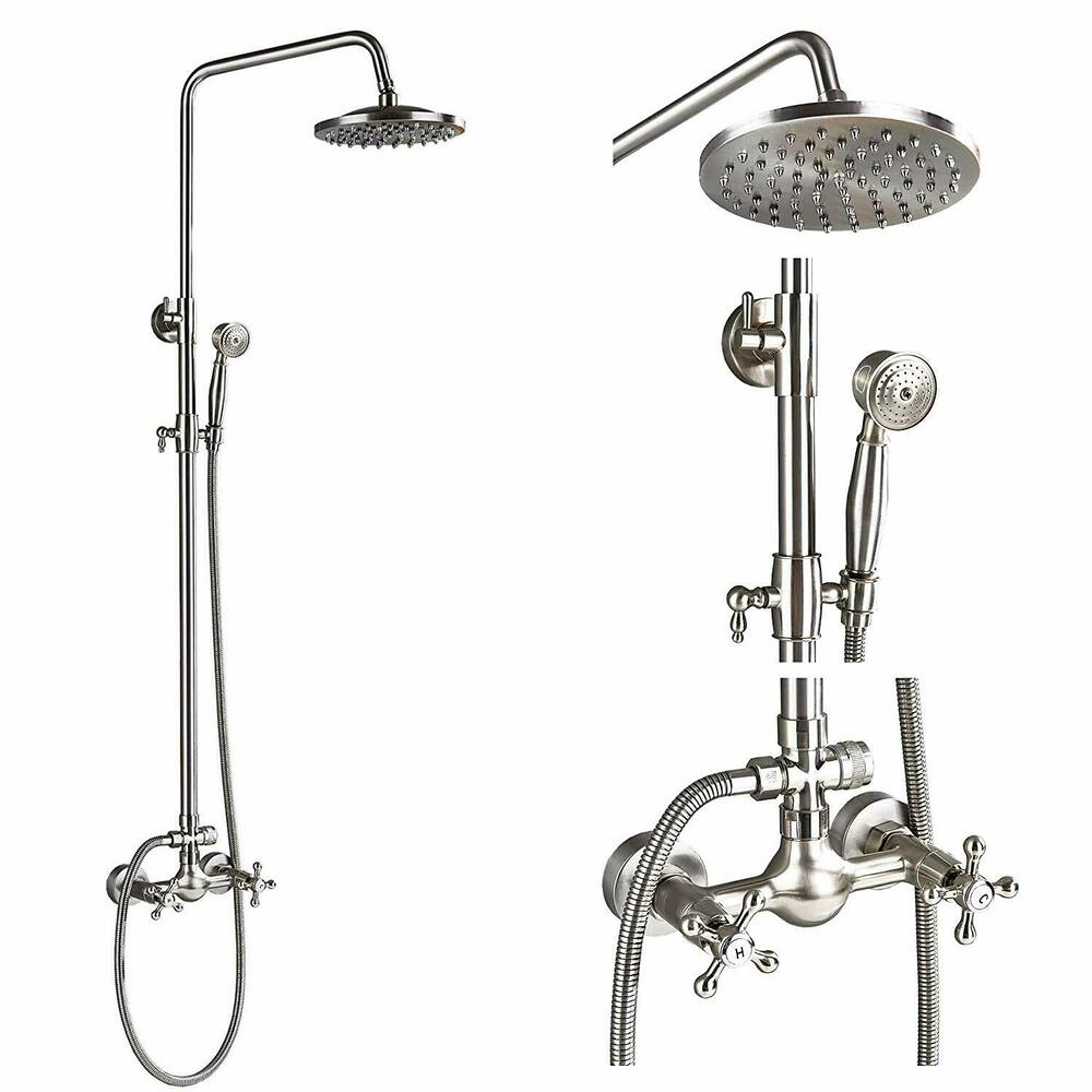 square led wall mount bathroom shower faucet 8 shower head tub spout hand unit ebay. Black Bedroom Furniture Sets. Home Design Ideas