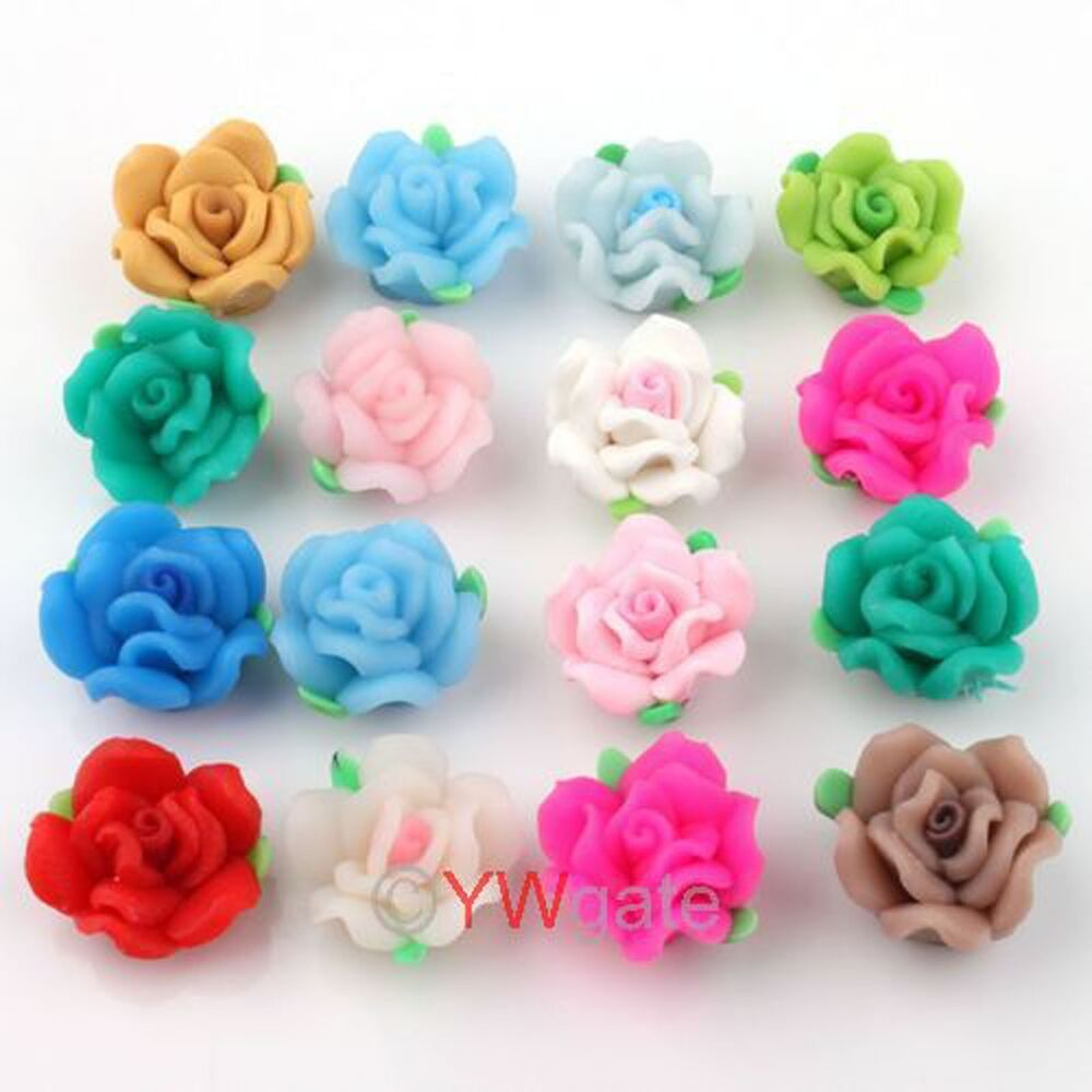 Polymer Clay Charm Bracelet: 30x Mixed Rose Fimo Polymer Clay Flower Bead 15mm 110719