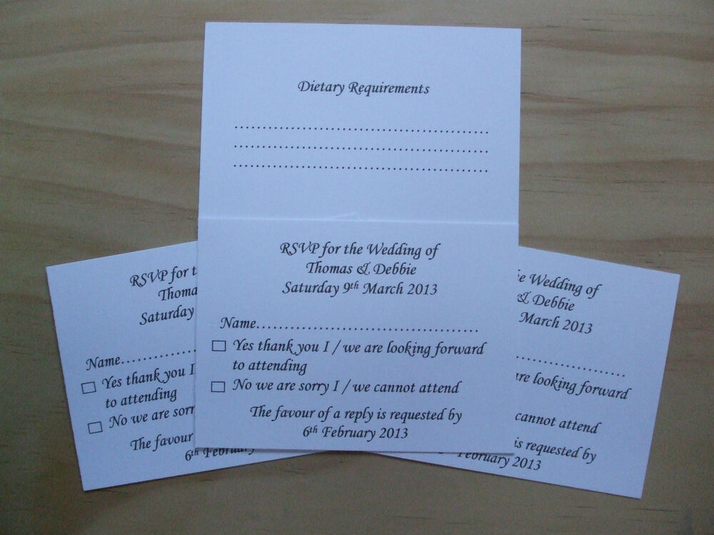 Personalised wedding rsvp cards with dietary requirements for Wedding invitations and rsvp cards all in one uk