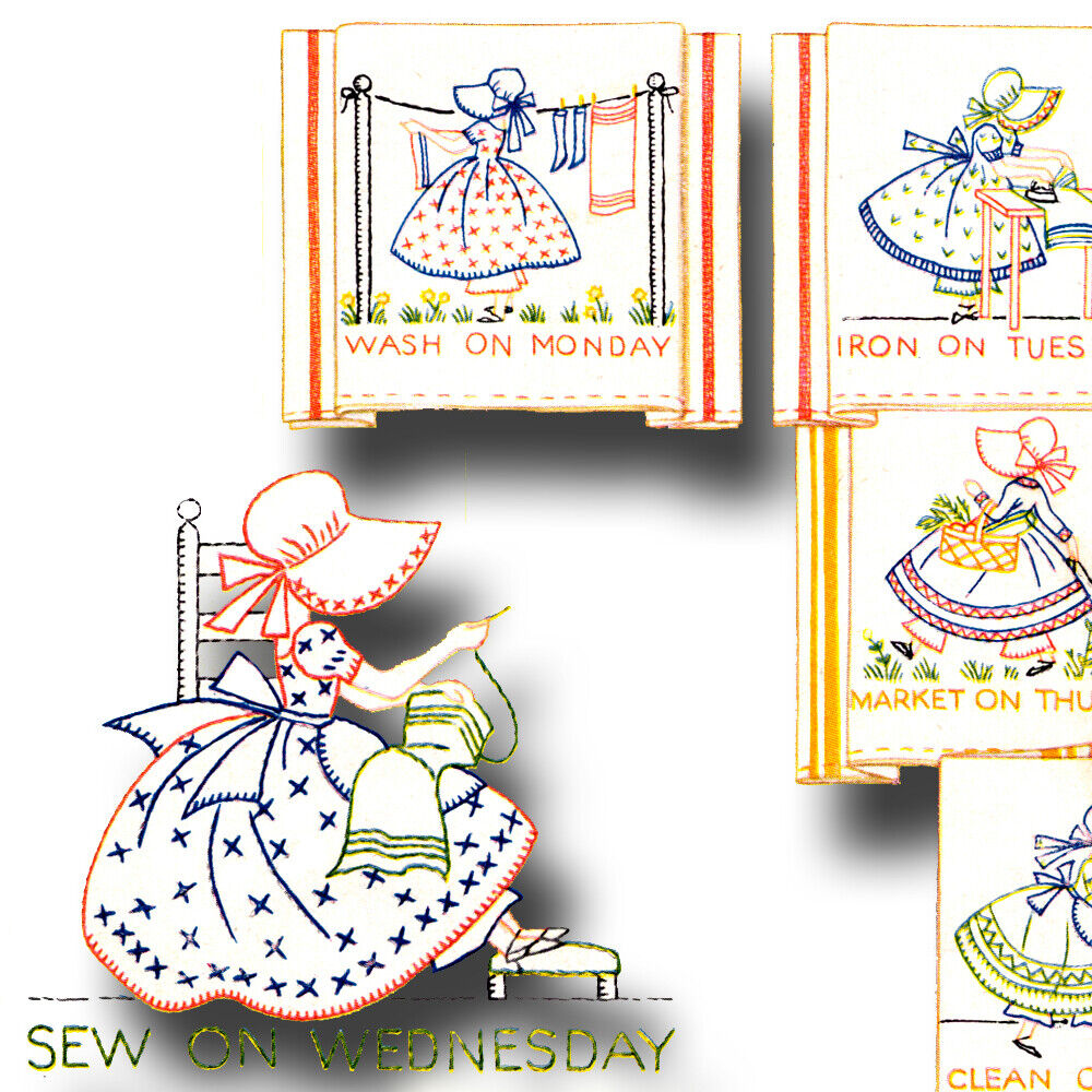 Vintage Sunbonnet Sue Dow Embroidery Pattern Ebay