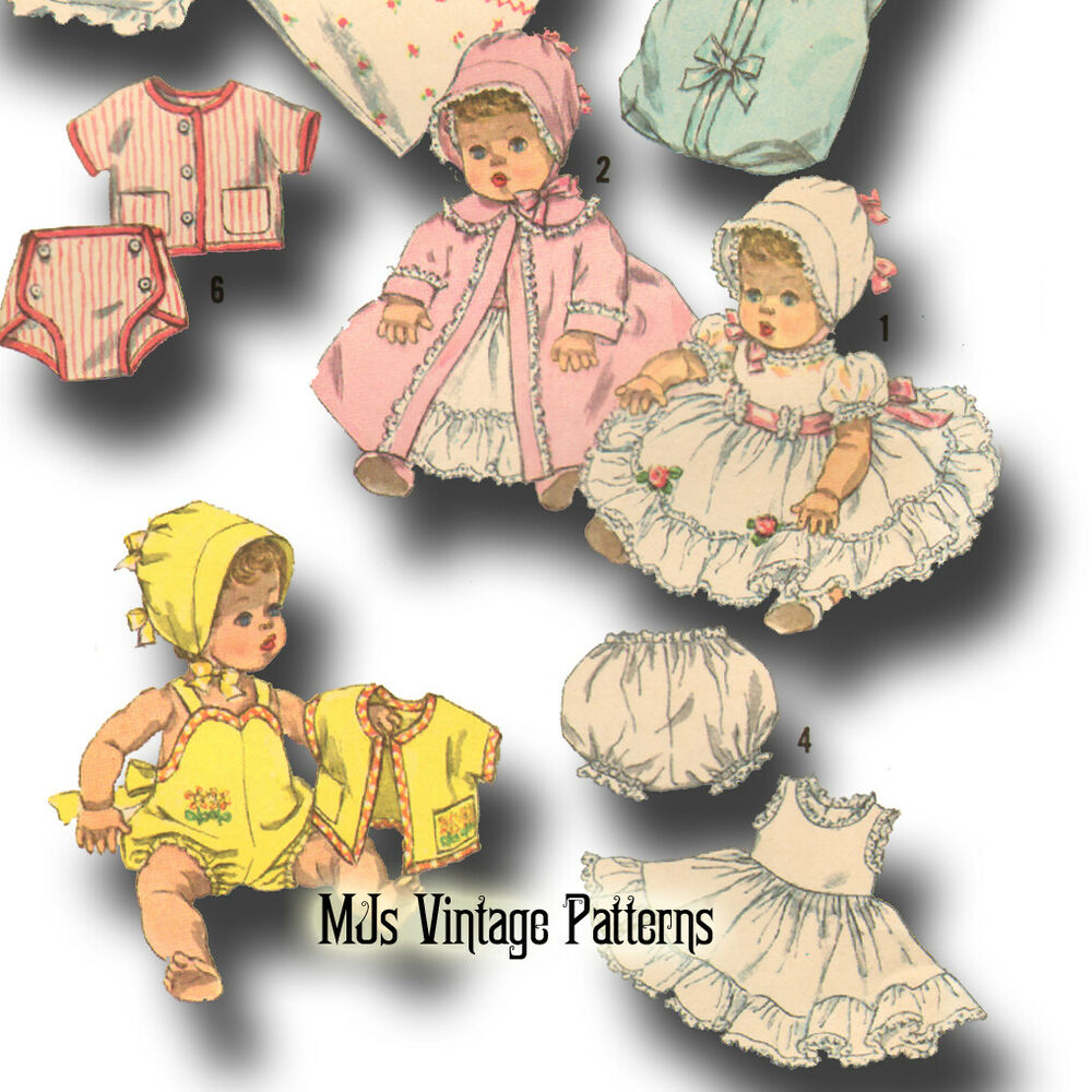 Vtg 50s Baby Doll Dress Bonnet Pattern 11 Quot 12 Quot Betsy