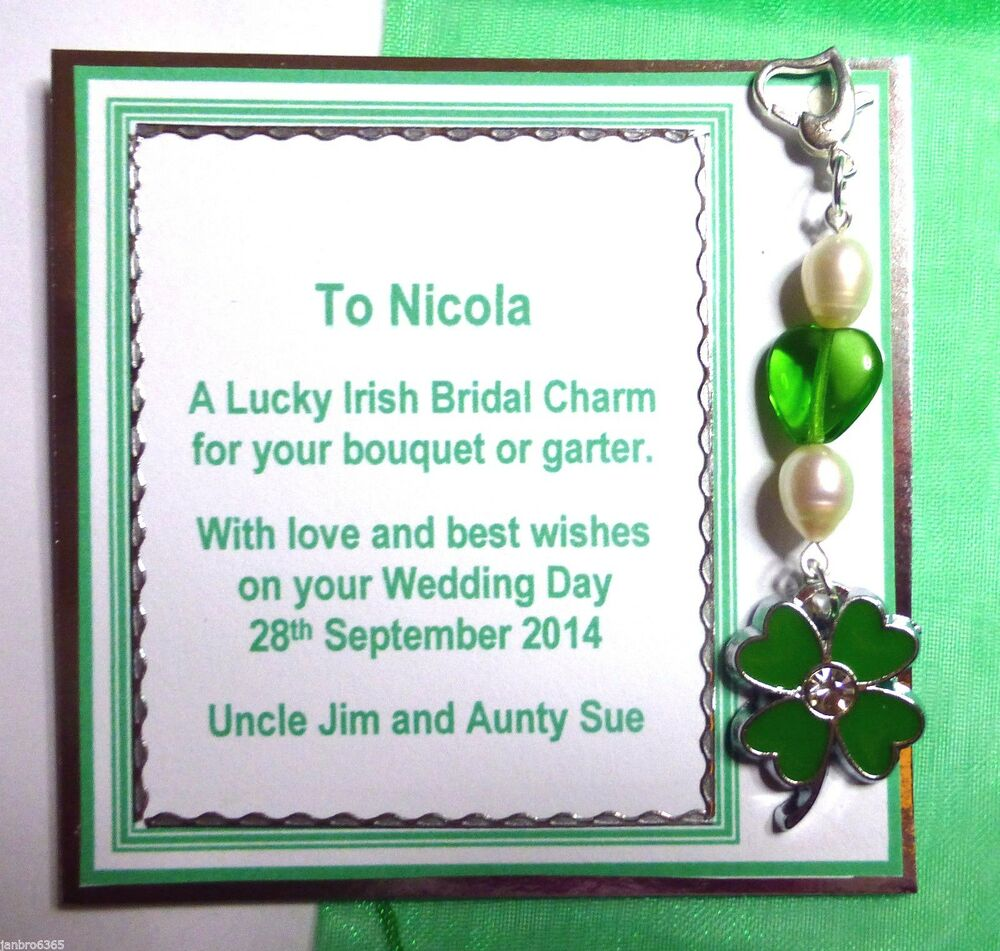 Good Wedding Gift Card : Bridal Good Luck Charm for Garter or Bouquet with Personalised Gift ...