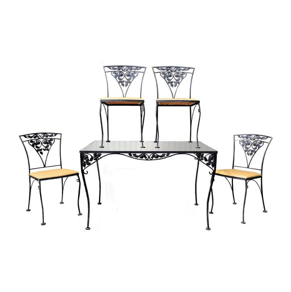 Vintage wrought iron patio garden outdoor dining set table