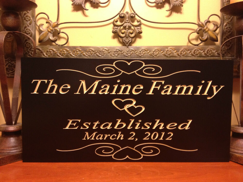 Engraving Wedding Gifts: Personalized Established Plaque Sign Wedding Name Engraved