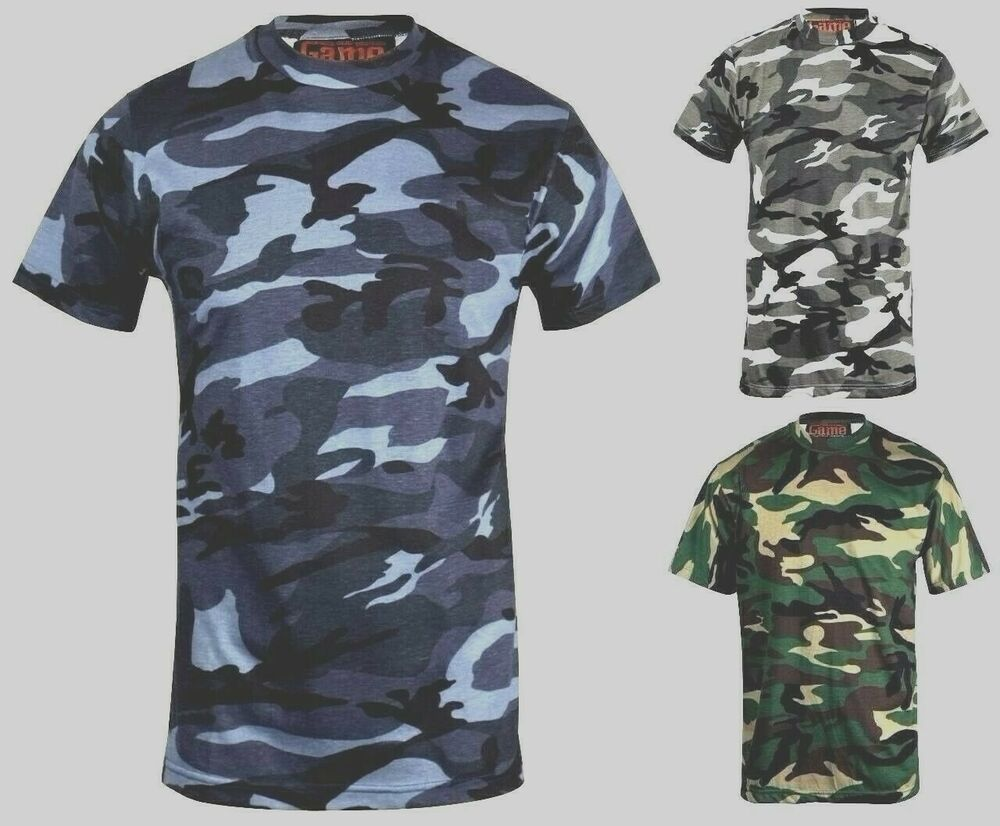Mens camouflage camo t shirt blue brown green fishing for Camo fishing shirt