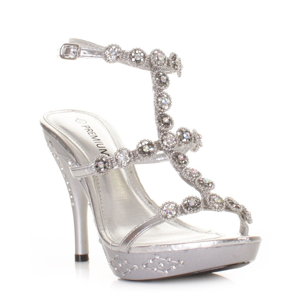 Womens Silver High Heel Ankle Strap Evening Wedding Prom Shoes ...