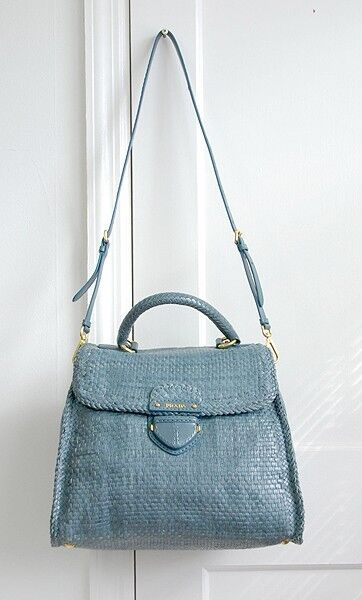 859ac63ddb08 ... denmark nwt authentic prada 2895 madras top handle woven leather bag  blue ebay 80556 442cb ...