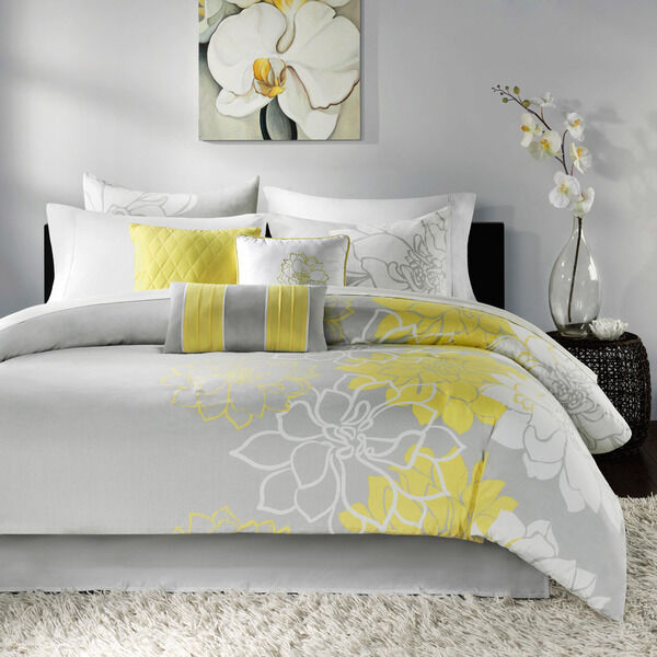 new 7 piece king comforter set yellow floral gray white modern flowers bedding ebay. Black Bedroom Furniture Sets. Home Design Ideas
