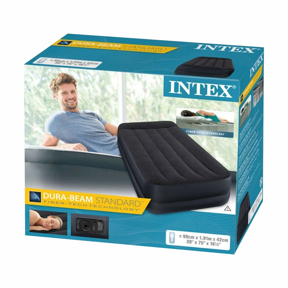 intex single twin size raised inflatable air bed mattress. Black Bedroom Furniture Sets. Home Design Ideas