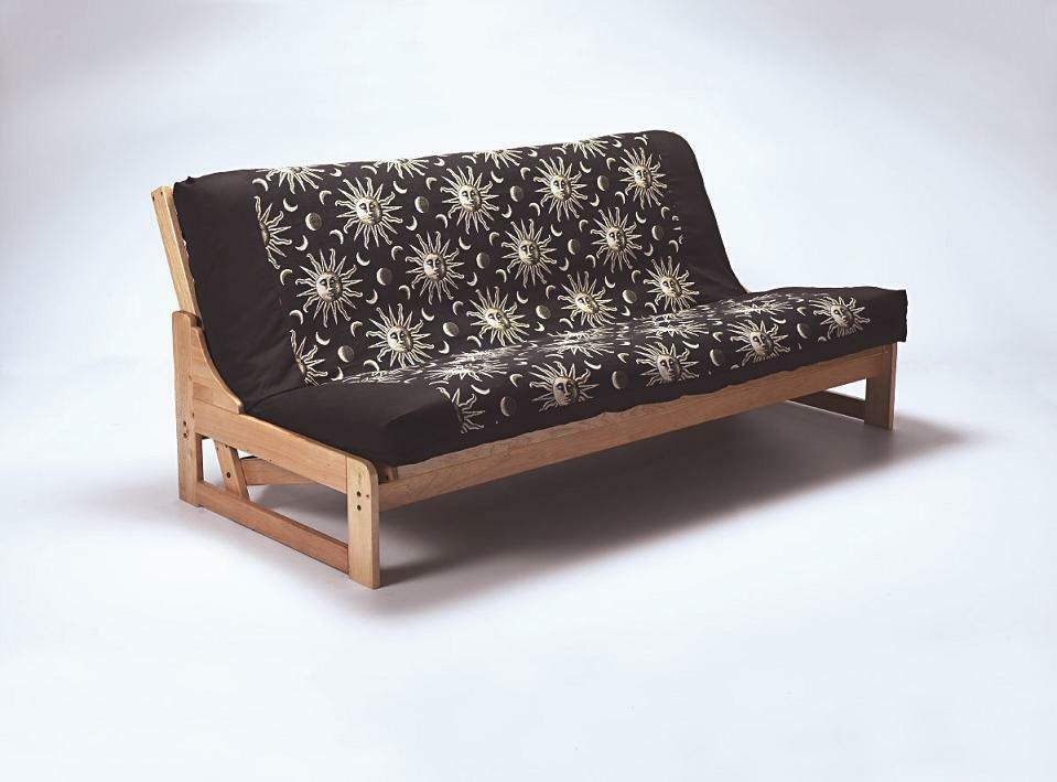 Double solid wood futon sofabed framewooden sofa bed for Wooden frame futon sofa bed