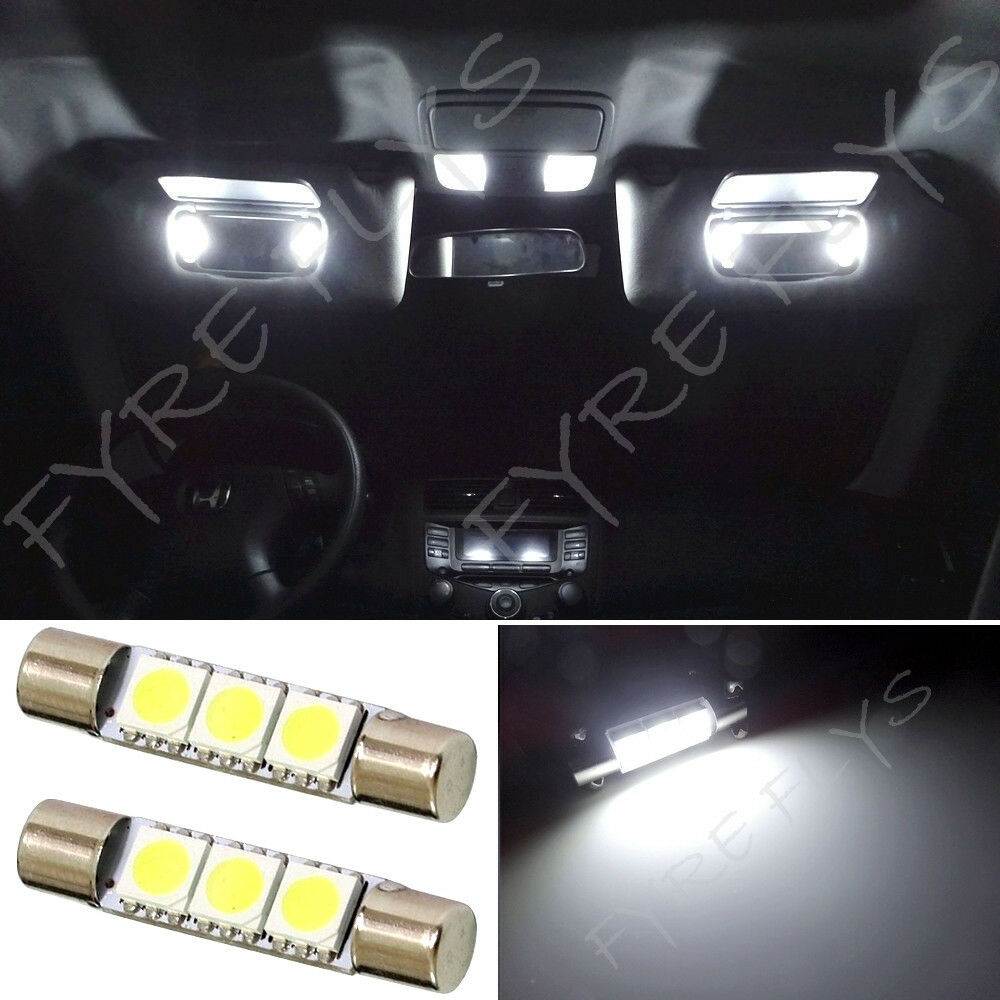 white 3 led vanity visor mirror lights 6614 fuse y1 ebay. Black Bedroom Furniture Sets. Home Design Ideas