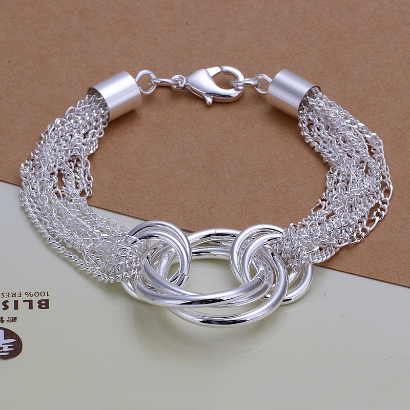 Inexpensive Charm Bracelets: Hot! Wholesale Sterling Solid Silver Multi-line&circle