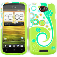 Flowers and Circles on Green Hard Case Cover Protector for T-Mobile HTC One S