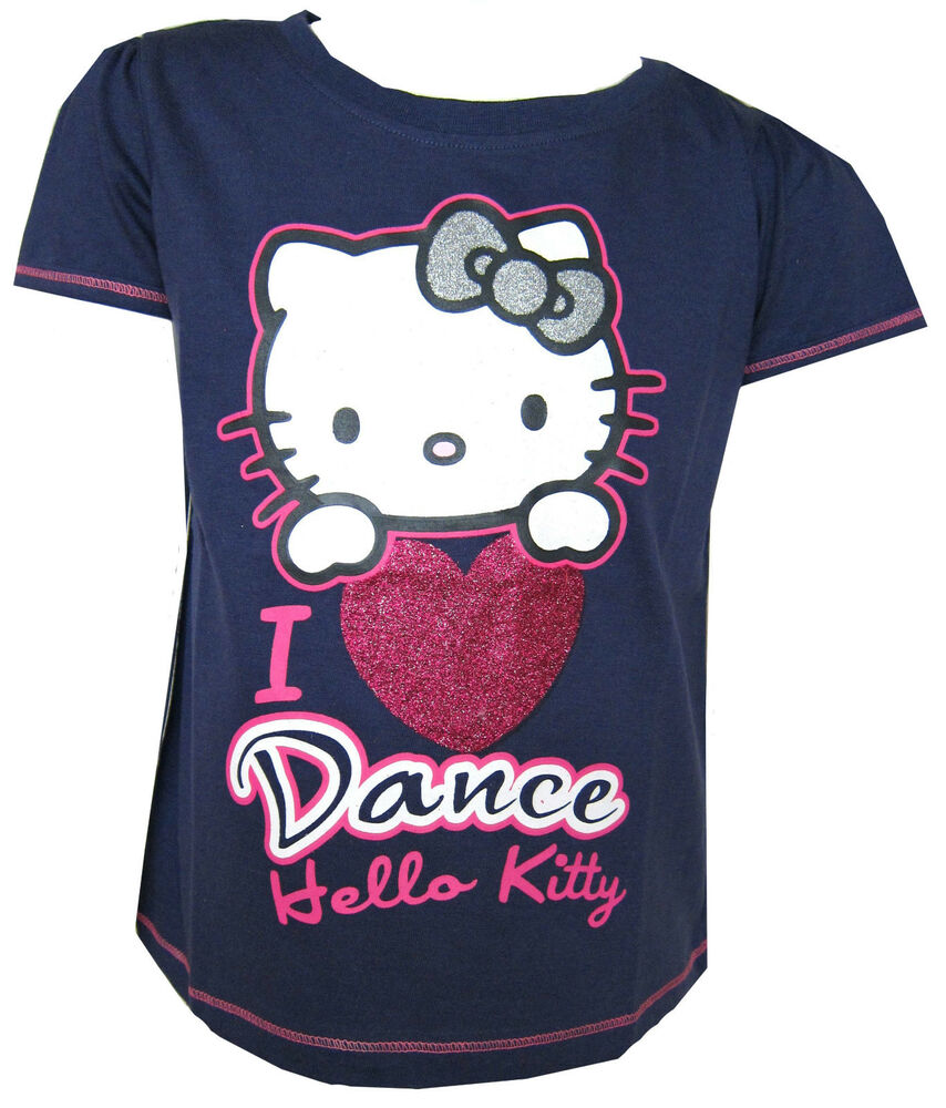 Hello kitty girls navy blue t shirt 39 i love dance 39 ages 3y for Hello kitty t shirt design