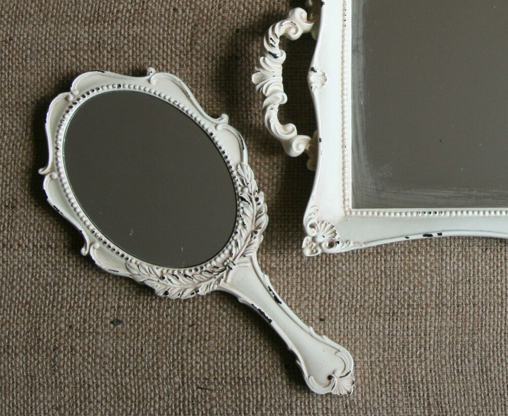 Vintage Chic Hand Held Mirror Shabby Antique French
