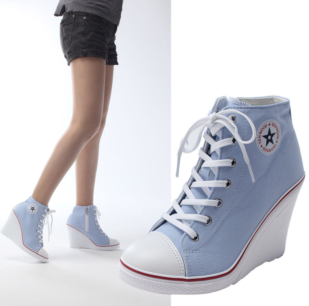 New Womens Ladies Lace Up Canvas Wedge High Heel Fashion ...