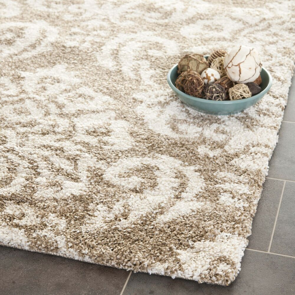 Beige Cream Ultimate Power Loomed Shag Area Rug 4 X 6 Ebay