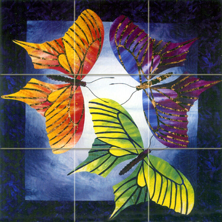 Art three butterfly colorful mural ceramic bath backsplash for Butterfly garden mural