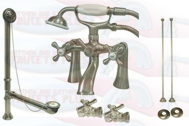 Brushed Satin Nicke Deck Mount Clawfoot Tub Faucet Drain Supplies Stops