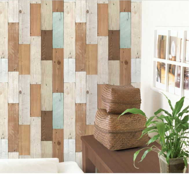 Do It Yourself Home Design: Natural Color Vintage Wood Panel Deco Self Adhesive Vinyl