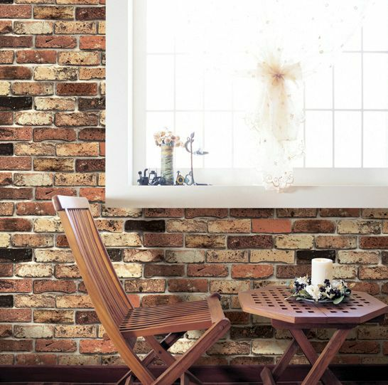 Vintage brick home deco self adhesive peel stick wallpaper for Home wallpaper ebay