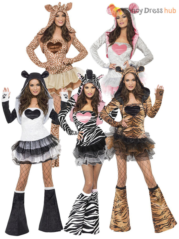 Ladies Fever Sexy Animal Fancy Dress Costumes Womens Hen