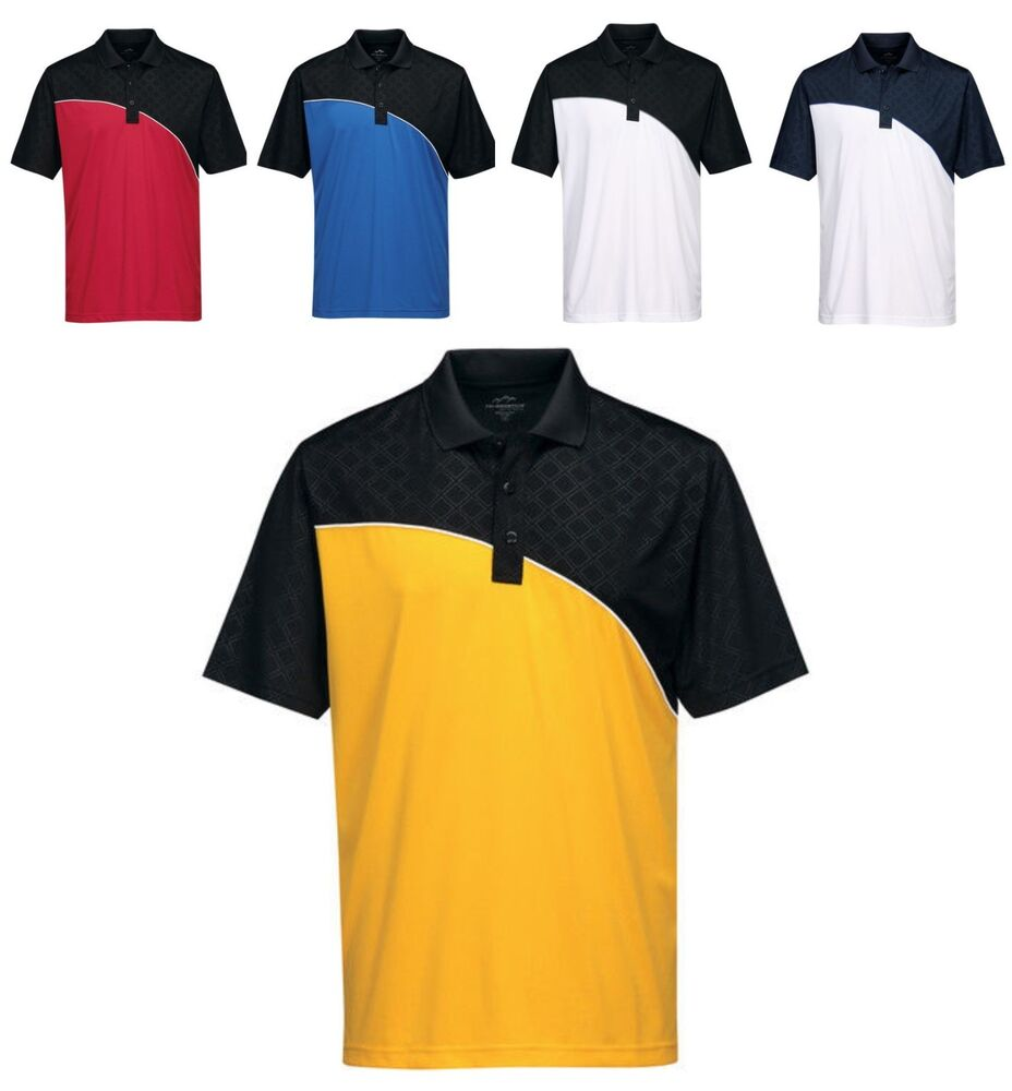 Men 39 s two tone moisture wicking sport polo shirt side for Moisture wicking golf shirts
