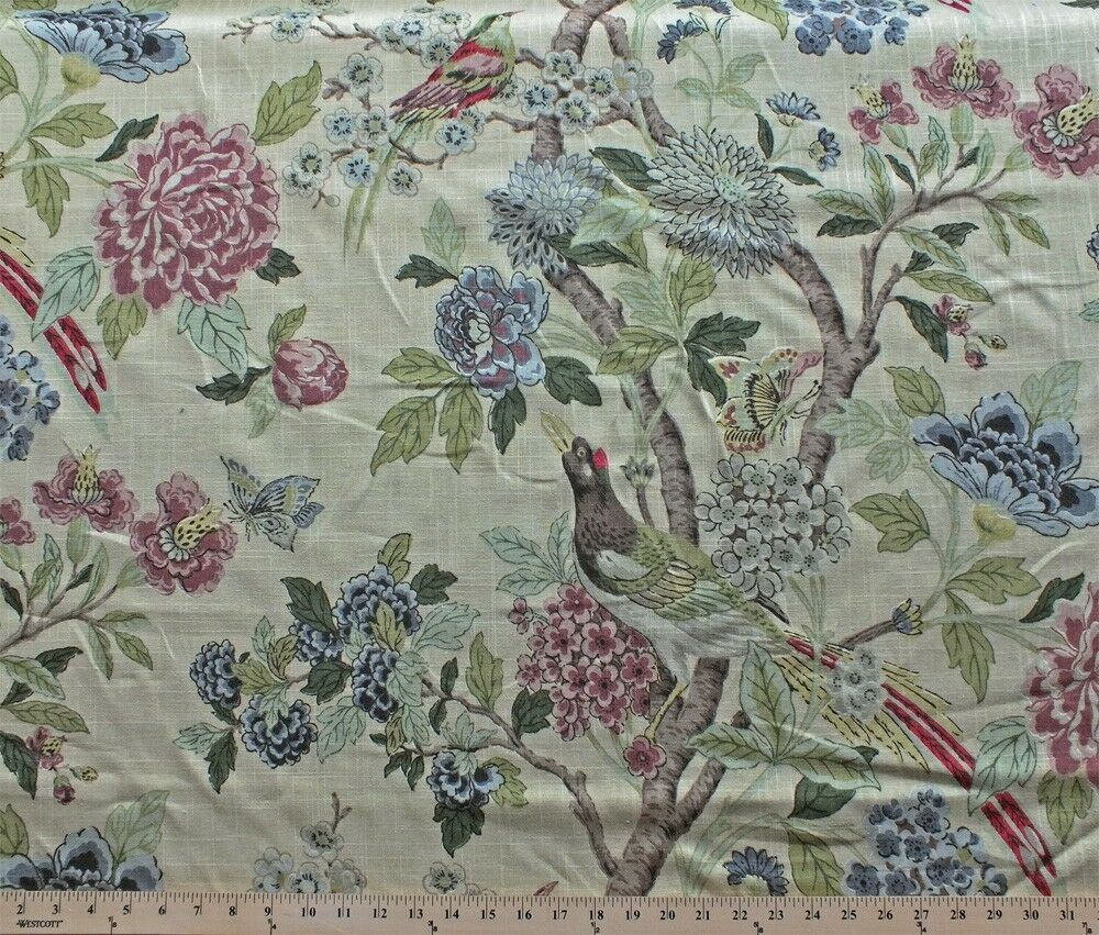 Whipporw Birds Floral Decor Decorator Weight Fabric Print