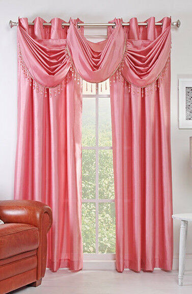 """Chelsea 56"""" X 84"""" Faux Silk Window Curtain with 8 Grommets Rose Color ..."""