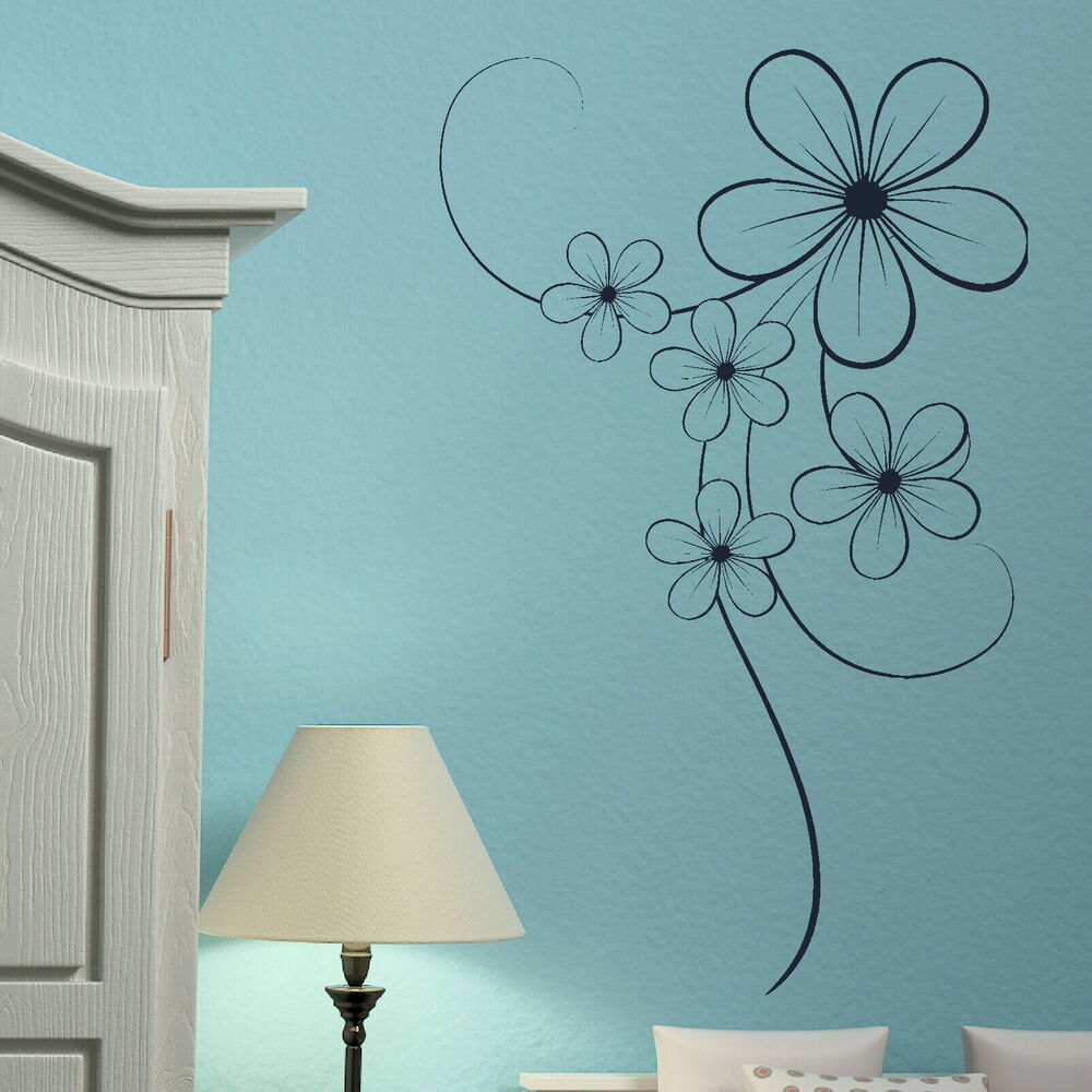Elegant Flower Floral Wall Transfer / Vinyl Wall Decal ...