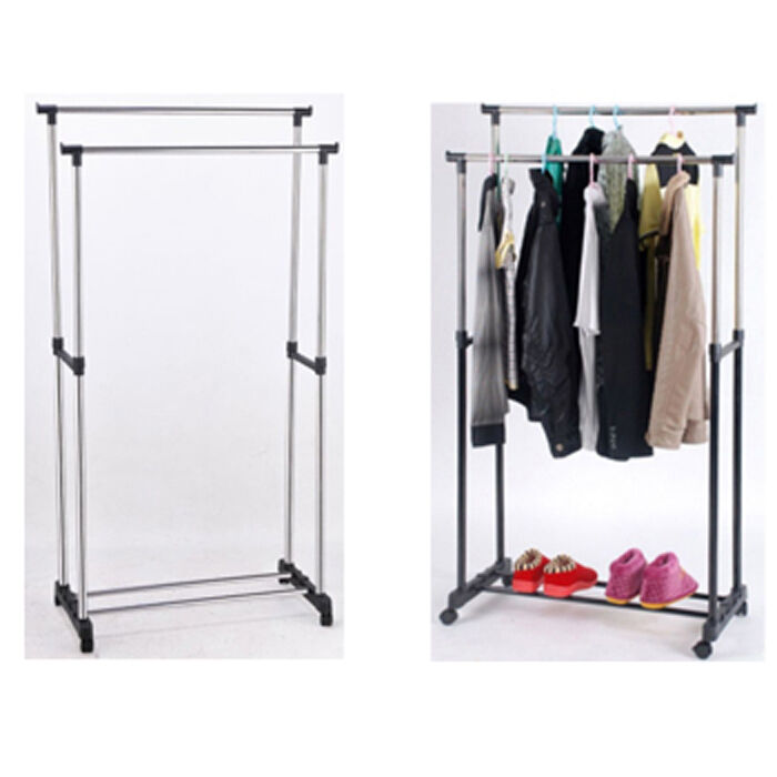 double new adjustable hanging clothes rail shoe rack. Black Bedroom Furniture Sets. Home Design Ideas