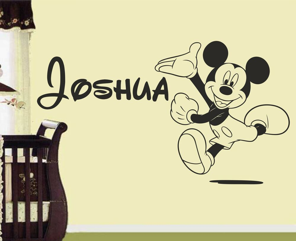Mickey Mouse Personalised wall art sticker decal nursery bedroom #2 ...