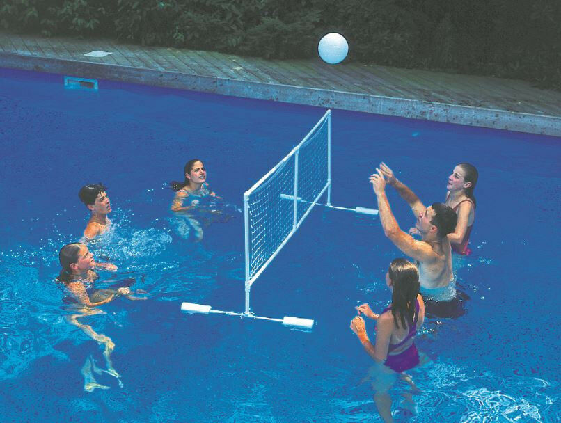 Super giant volleyball set swimming pool toy float ball floating game net 9167 ebay for Games to play in a swimming pool