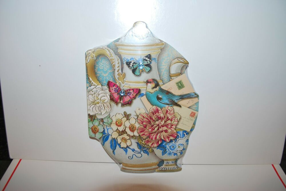 PUNCH STUDIO TEA CUP TEAPOT BUTTERFLY EMBELLISHED DIE-CUT