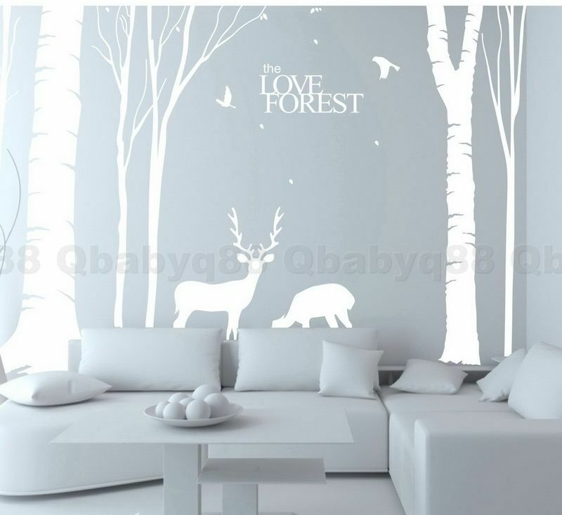 giant tree forest deer elk bird wall stickers vinyl decal decor art mural branch ebay