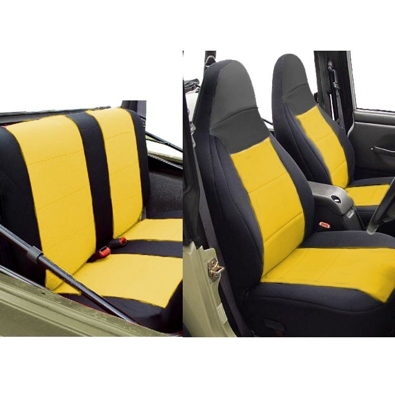 neoprene car seat cover full set front rear yellow tj 1997 02 jeep wrangler ebay. Black Bedroom Furniture Sets. Home Design Ideas