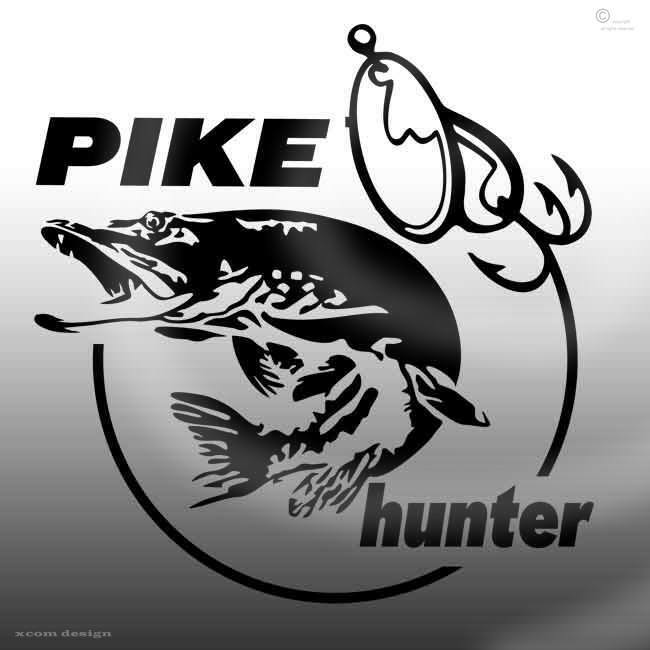 Pike hunter car sticker 145mm h 140mm w fishing vinyl for Free fishing stickers