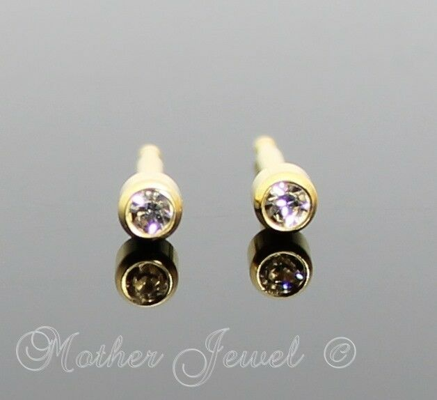 3mm Lock Back 24ct Gold Plated Studex Girls Boys Baby
