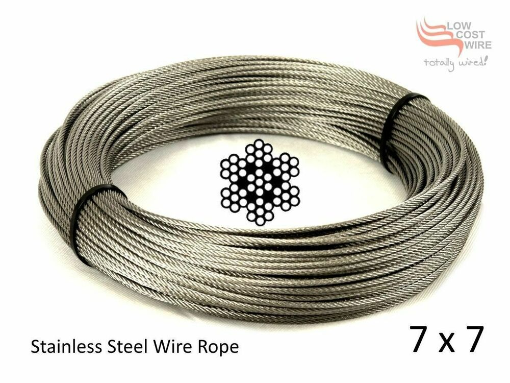 Wire Rope for Trellis Stainless Steel 3.2mm 7X7 strand 316 Marine ...