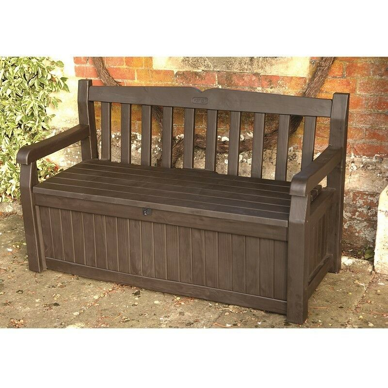 KETER ICENI EDEN PLASTIC GARDEN STORAGE BENCH BOX 265 LITRE DARK BROWN ...