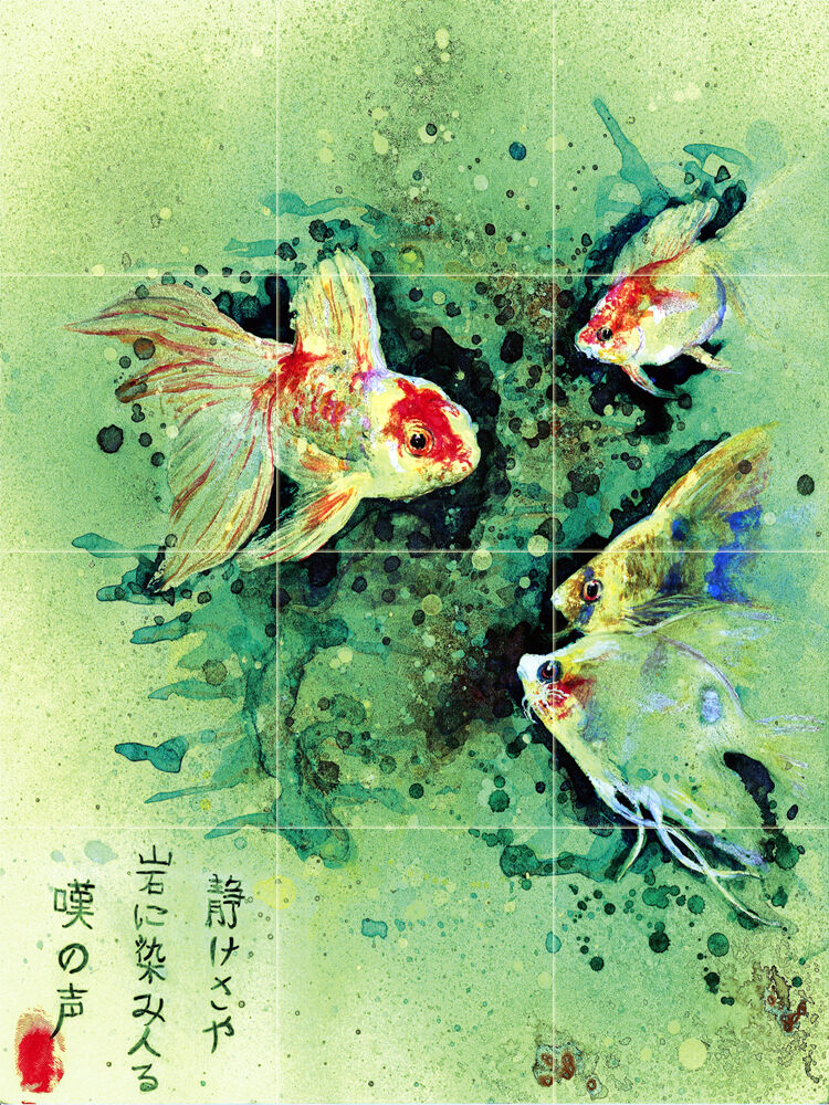 18 x 24 art chinese fish ceramic mural backsplash bath for Ceramic mural painting